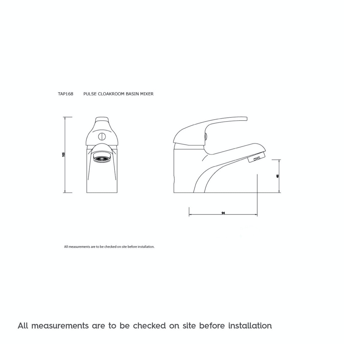 Dimensions for Clarity cloakroom basin mixer tap