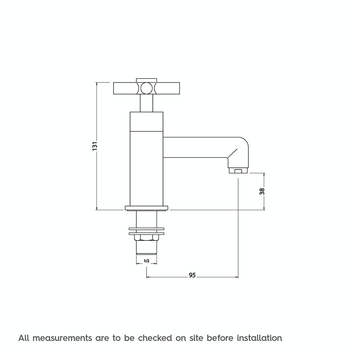 Dimensions for Mode Tate basin pillar taps