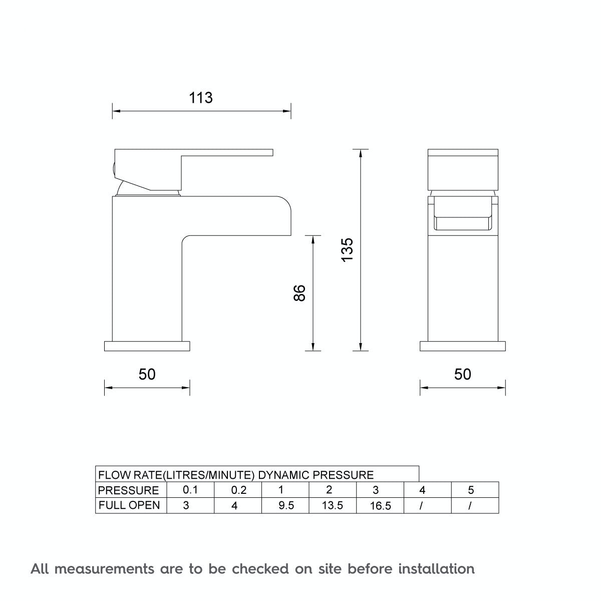 Dimensions for Orchard Derwent waterfall basin mixer tap