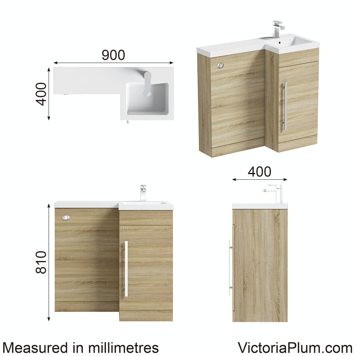 Dimensions for MySpace oak right handed unit including concealed cistern
