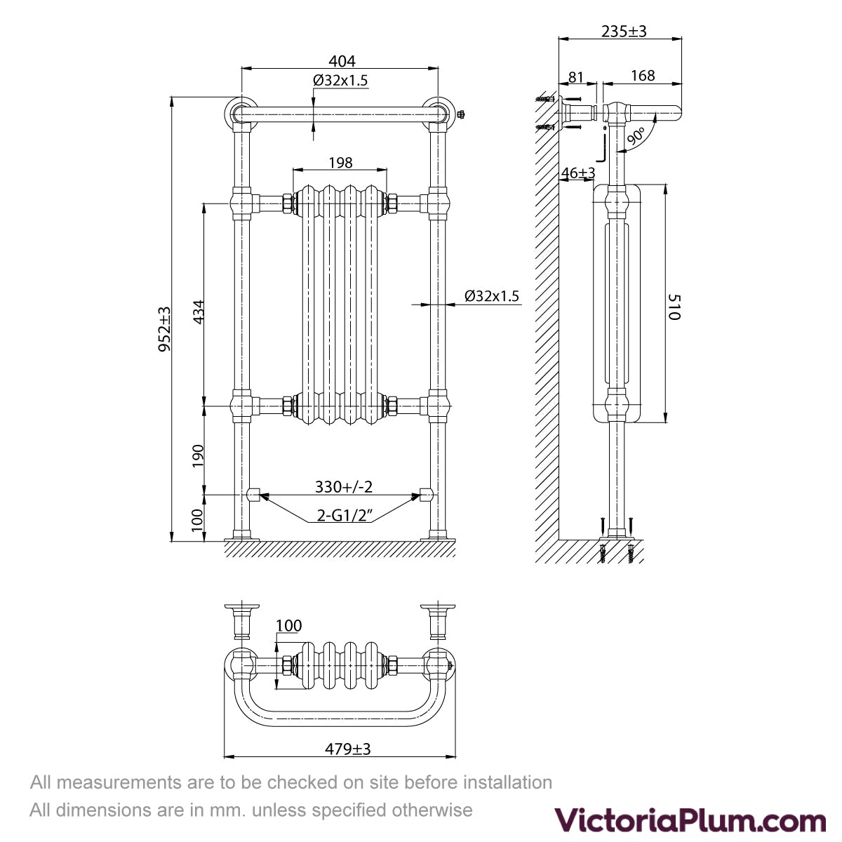 Dimensions for The Bath Co. Dulwich radiator 952 x 479