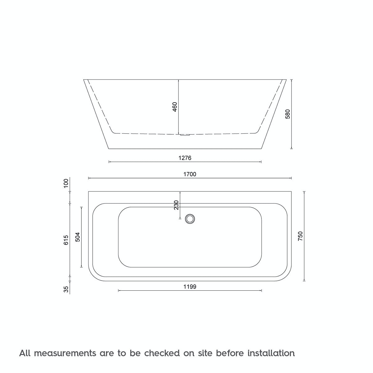 Dimensions for Mode Carter back to wall bath