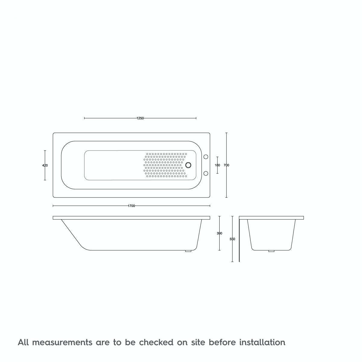 Dimensions for Orchard Steel bath 1700 x 700