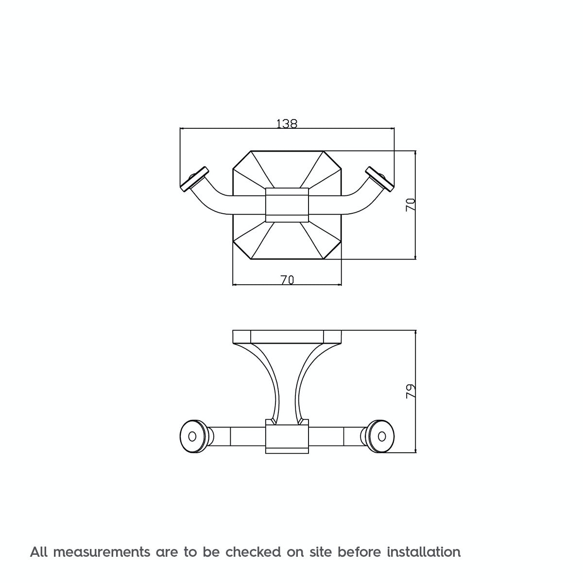 Dimensions for The Bath Co. Camberley double robe hook