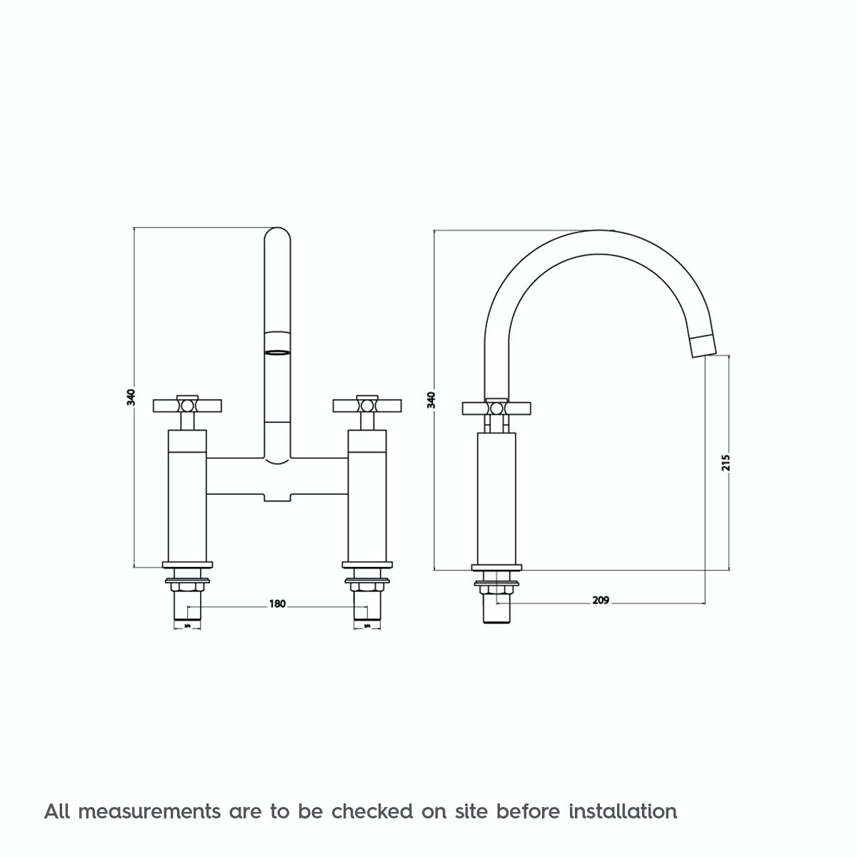 Dimensions for Mode Tate bath mixer tap