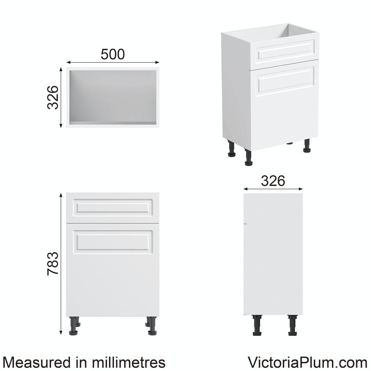 Dimensions for Florence white back to wall toilet unit 500mm