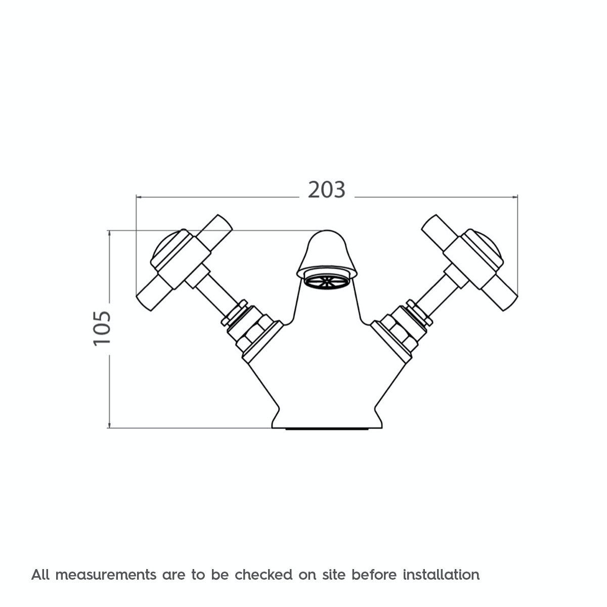 Dimensions for The Bath Co. Dulwich basin mixer tap