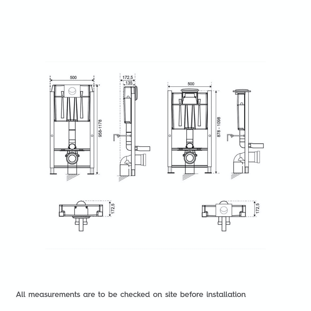 dimensions for universal wall hung toilet frame with push button cistern