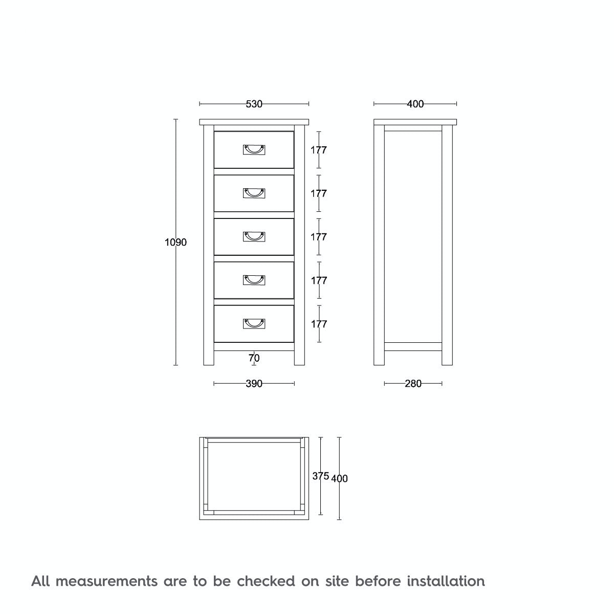 Dimensions for MFI Rome oak 5 drawer tall chest