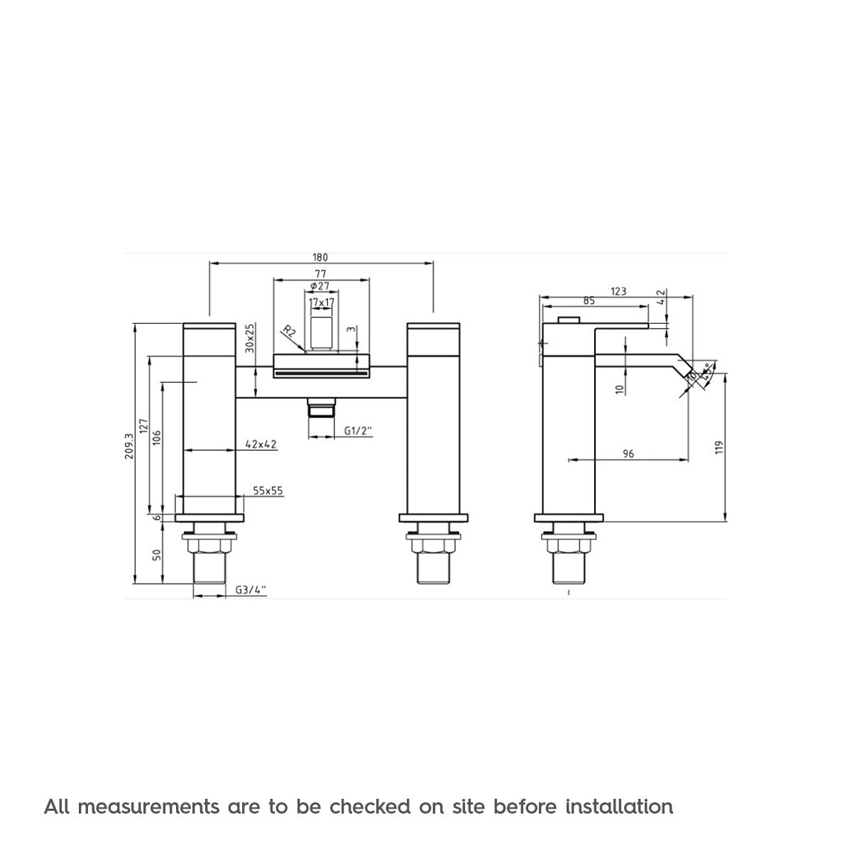Dimensions for Mode Aurora bath shower mixer tap