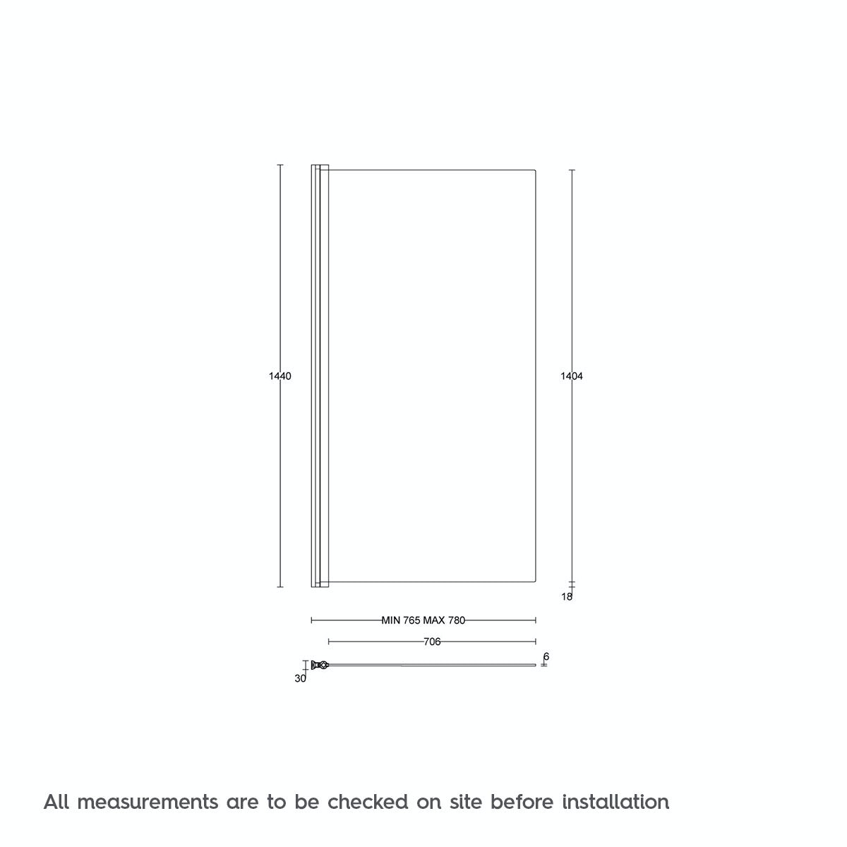 Dimensions For Orchard 6mm Hinged Single Straight Shower Bath Screen