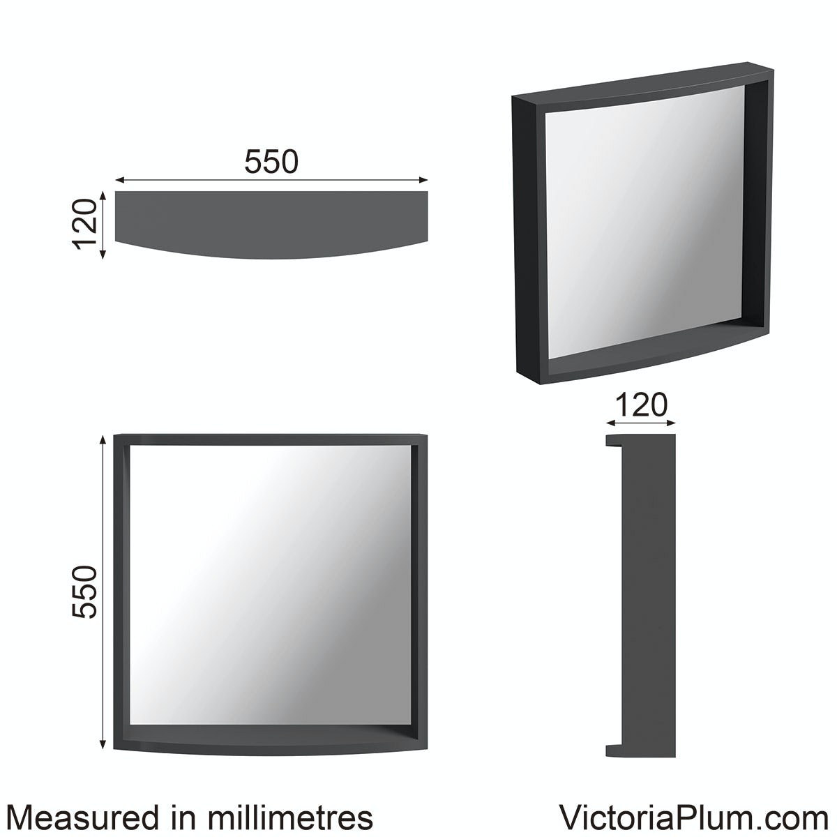 Dimensions for Mode Harrison slate bathroom mirror