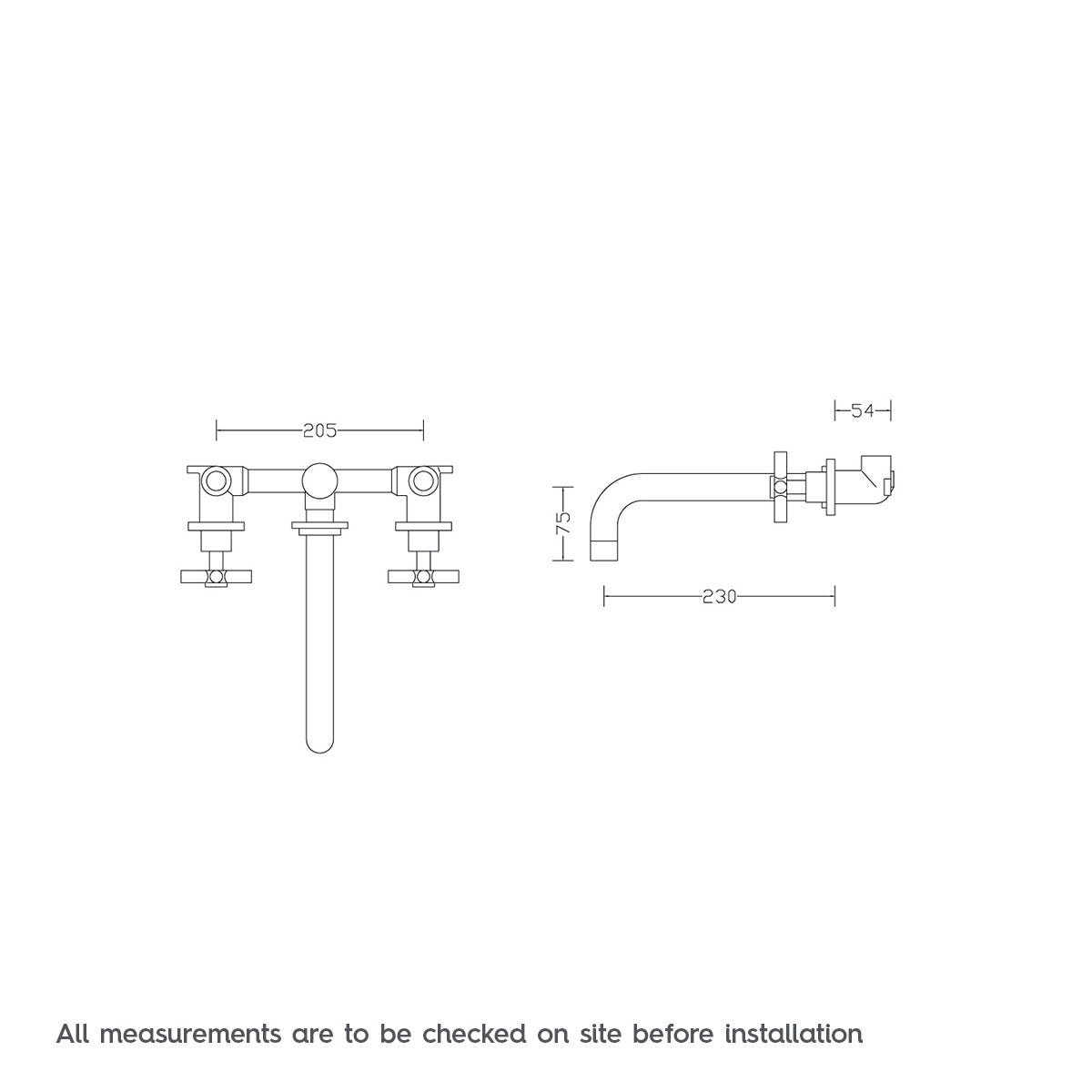 Dimensions for Mode Tate wall mounted bath filler tap