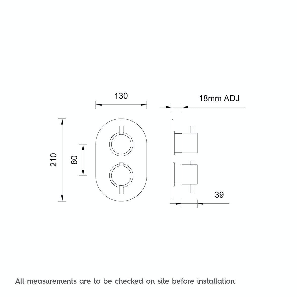 Dimensions for Mode Matrix oval twin thermostatic shower valve