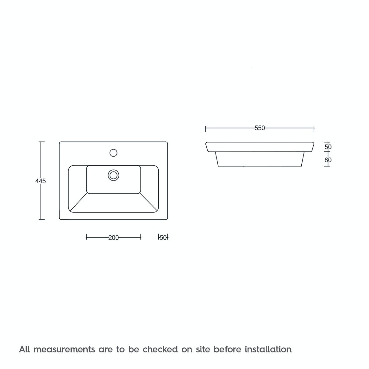 Dimensions for Mode Cooper 1 tap hole wall hung basin 550mm