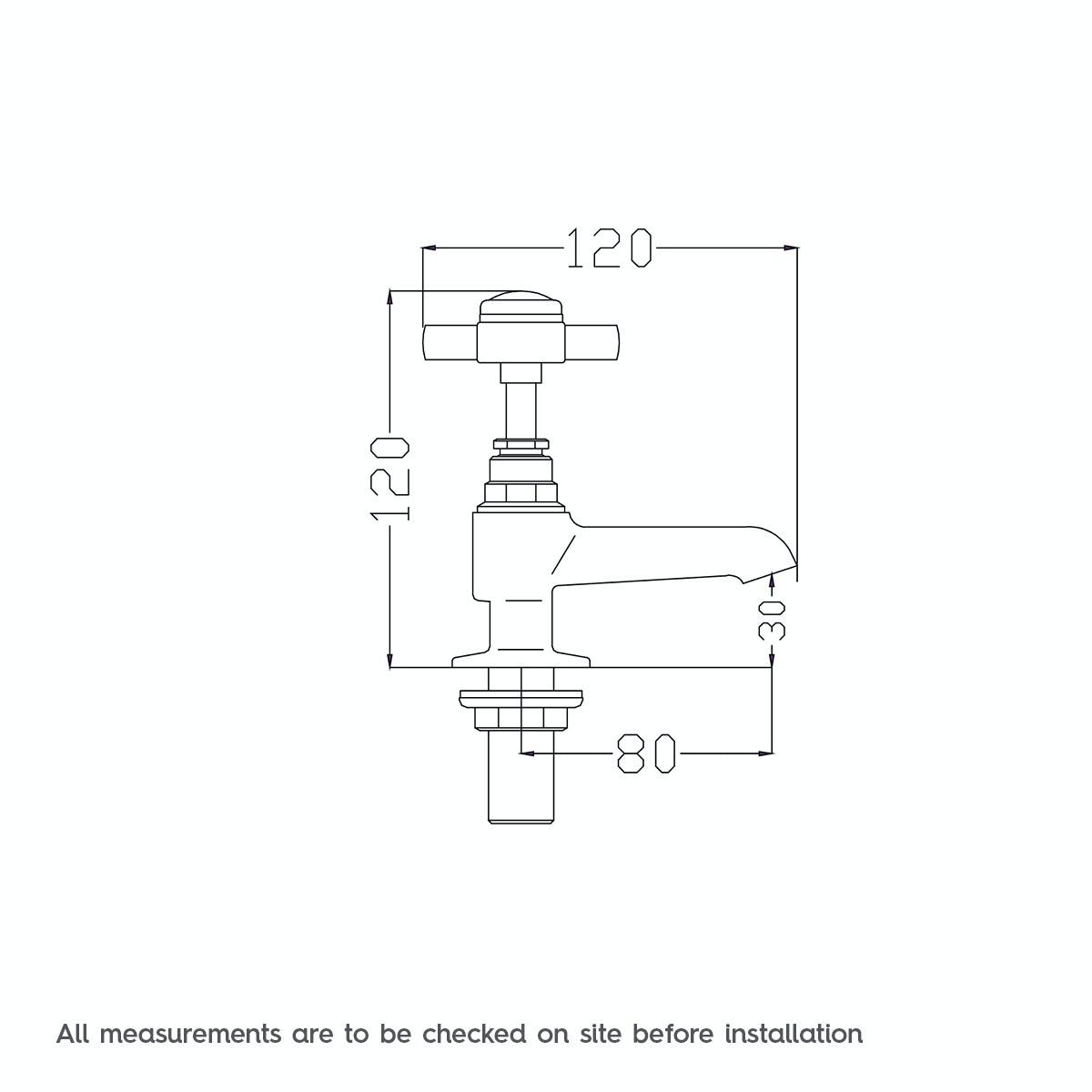 Dimensions for The Bath Co. Dulwich basin pillar taps