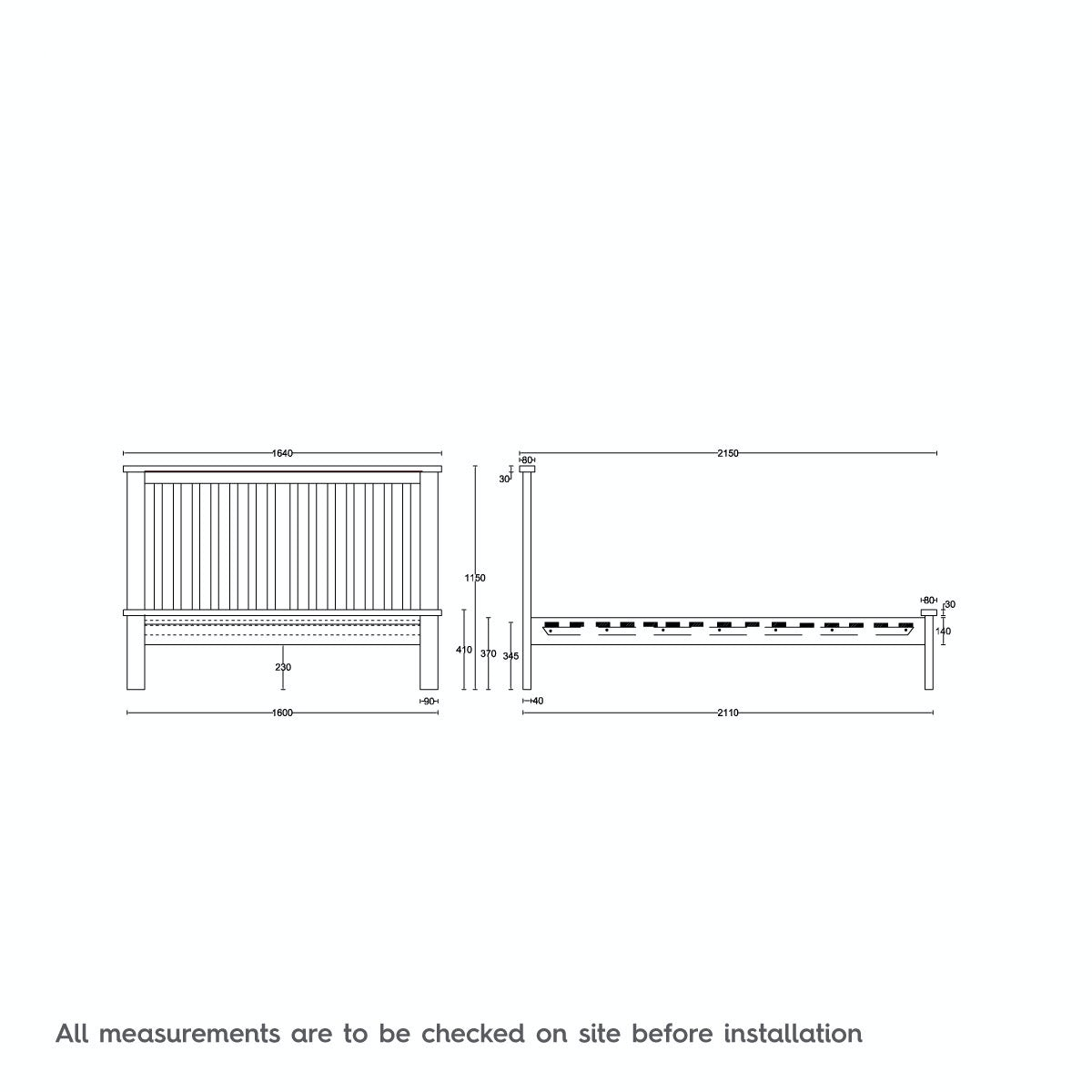Dimensions for MFI Rome reclaimed pine king size bed