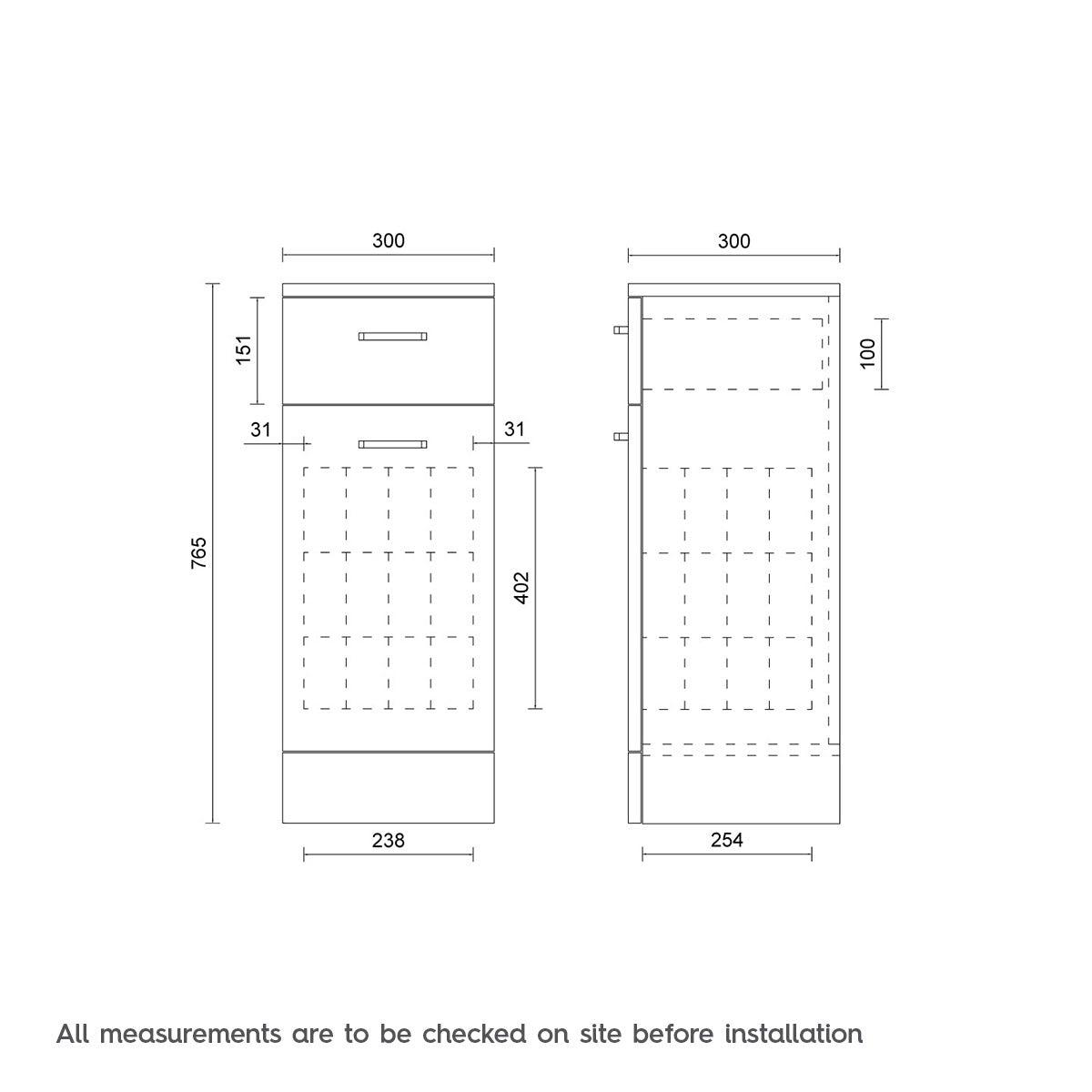 Dimensions for Sienna white slimline linen basket