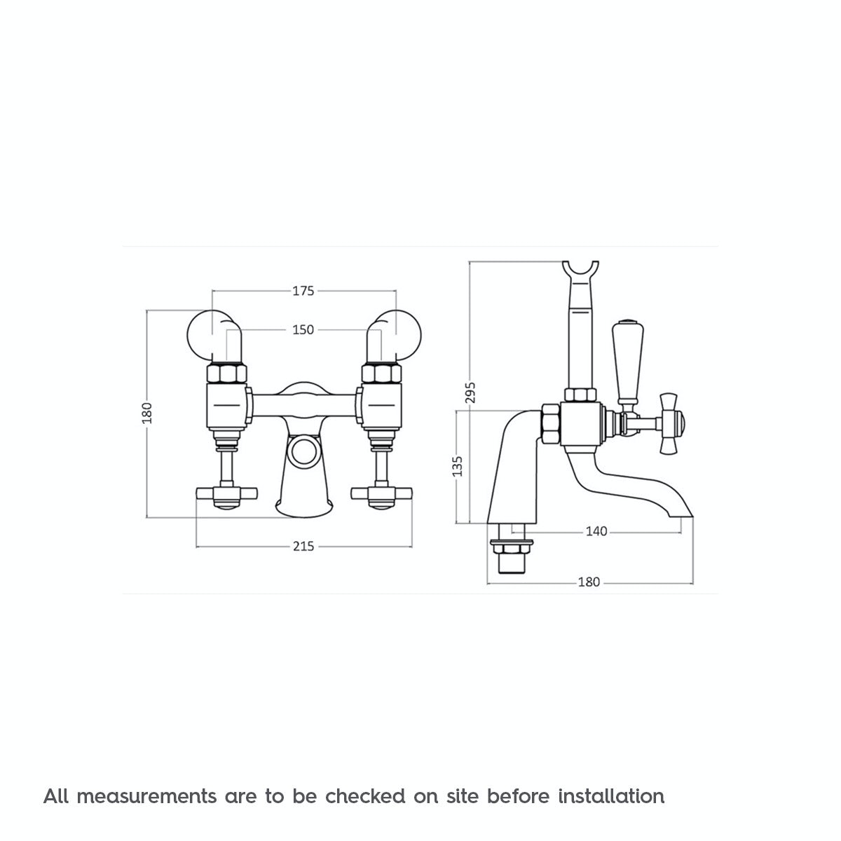 Dimensions for The Bath Co. Dulwich bath shower mixer tap
