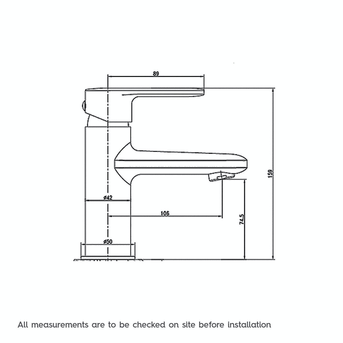 Dimensions for Orchard Windermere basin mixer tap