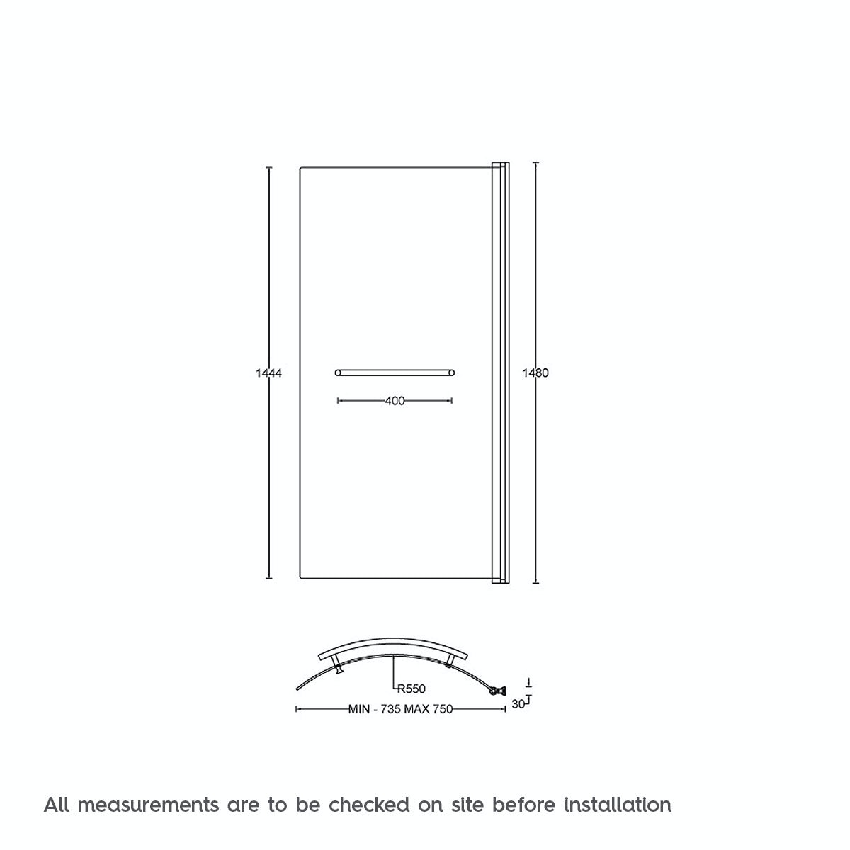 Dimensions for Orchard 6mm P shaped shower bath screen with rail
