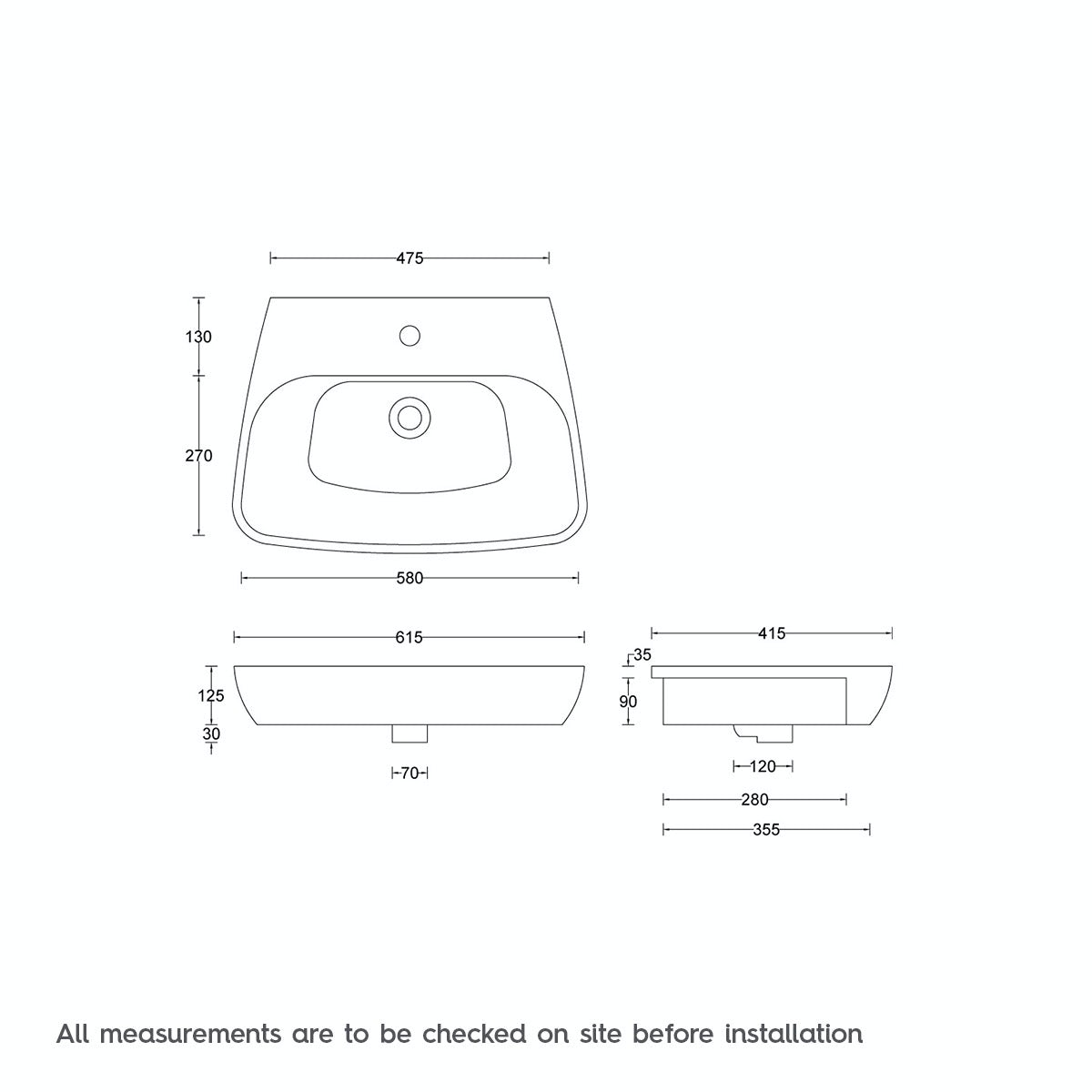 Dimensions for Foster 1 tap hole semi recessed countertop basin 600mm