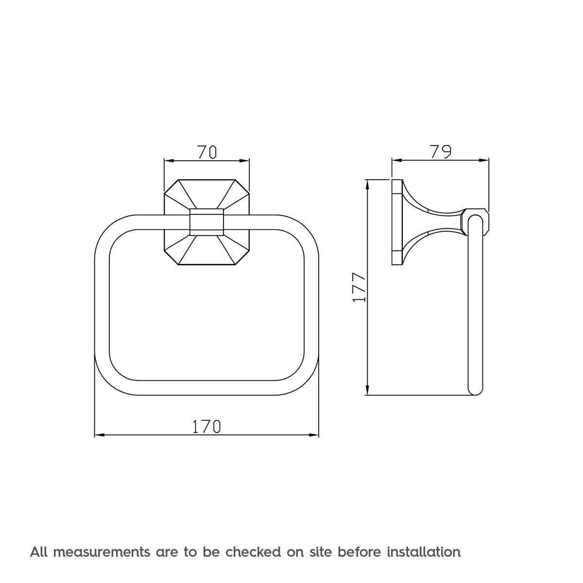 Dimensions for The Bath Co. Camberley square towel ring