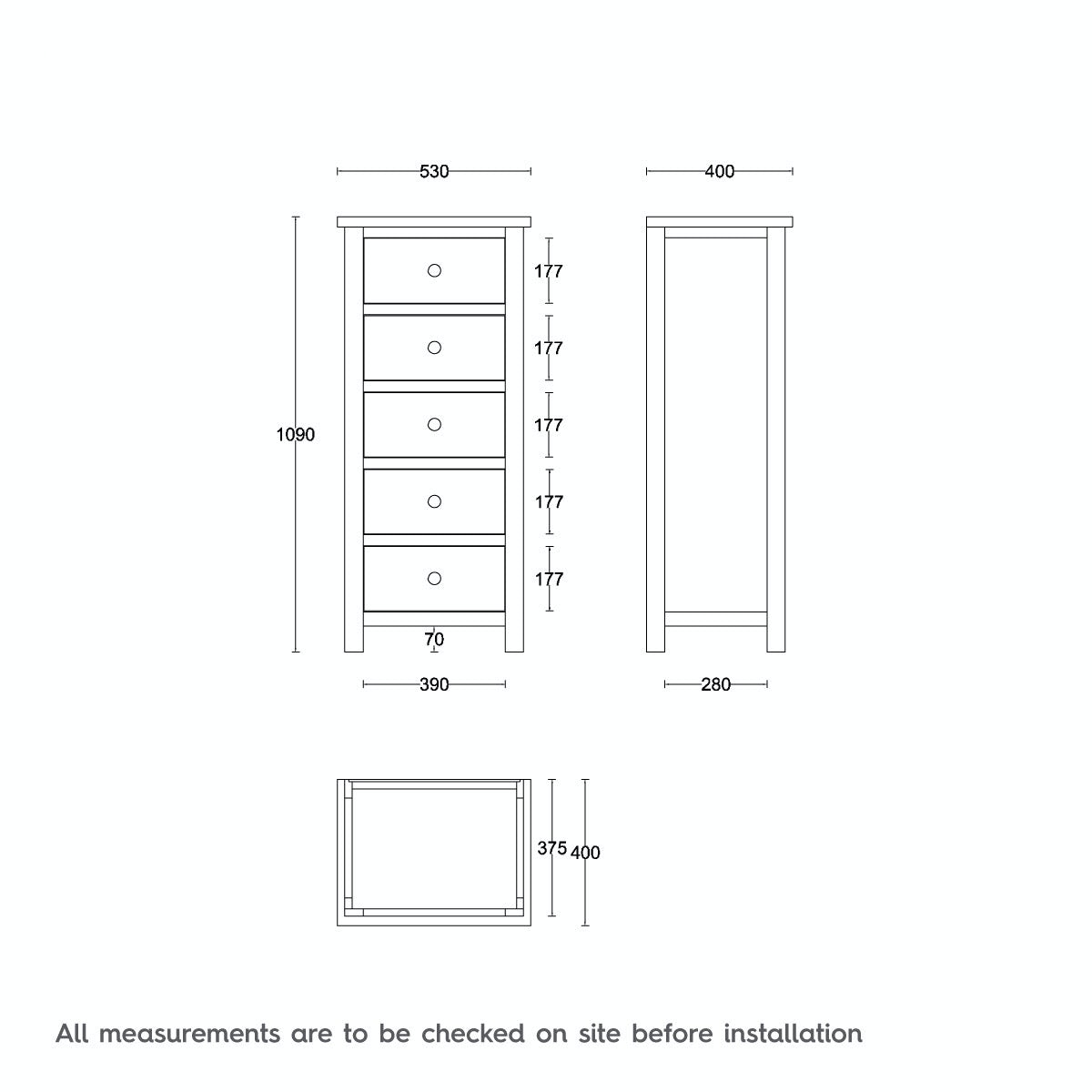 Dimensions for MFI Rome oak and mellow sage 5 Drawer Chest
