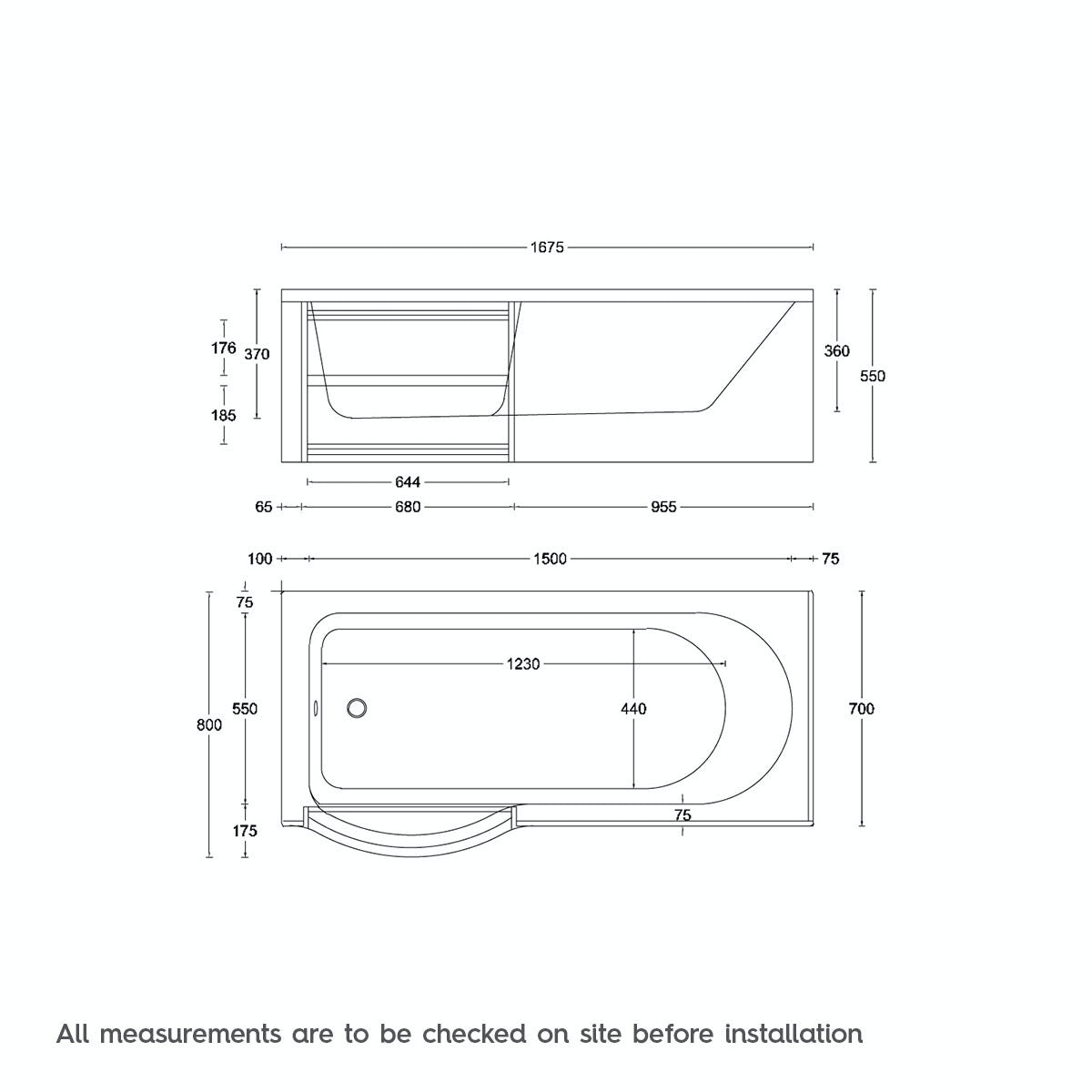 Dimensions for Orchard MySpace water saving P shaped shower bath left hand with storage panel