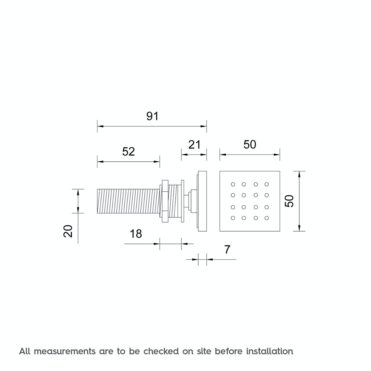 Dimensions for Mode Square shower body jet