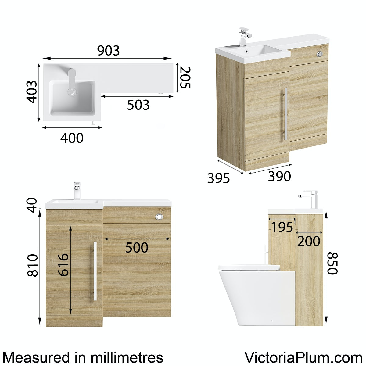Dimensions for Orchard MySpace oak right handed unit including concealed cistern