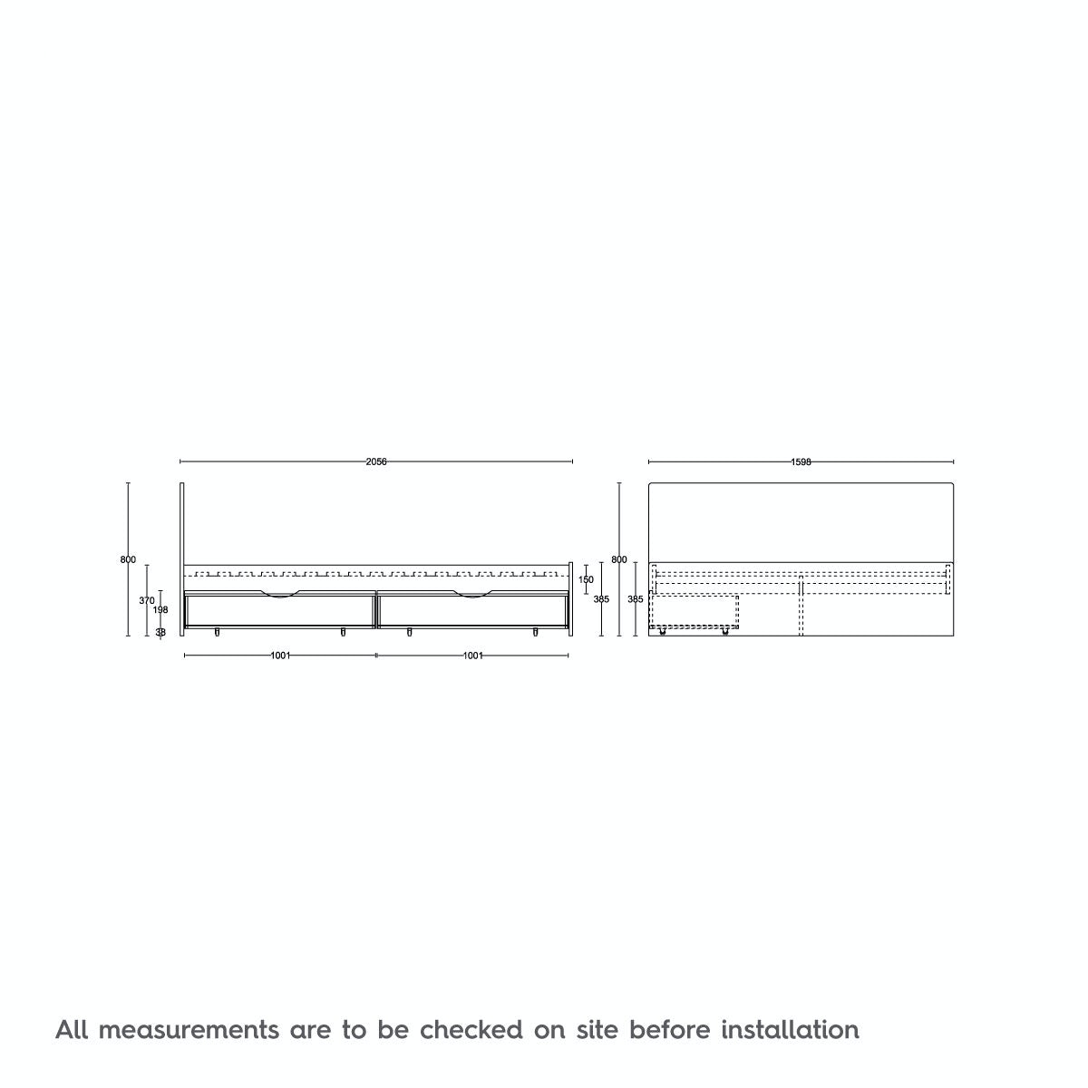 Dimensions for MFI London walnut king size bed