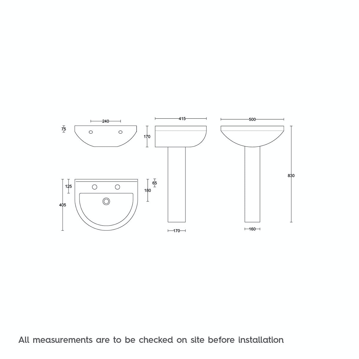 Dimensions for 500mm width