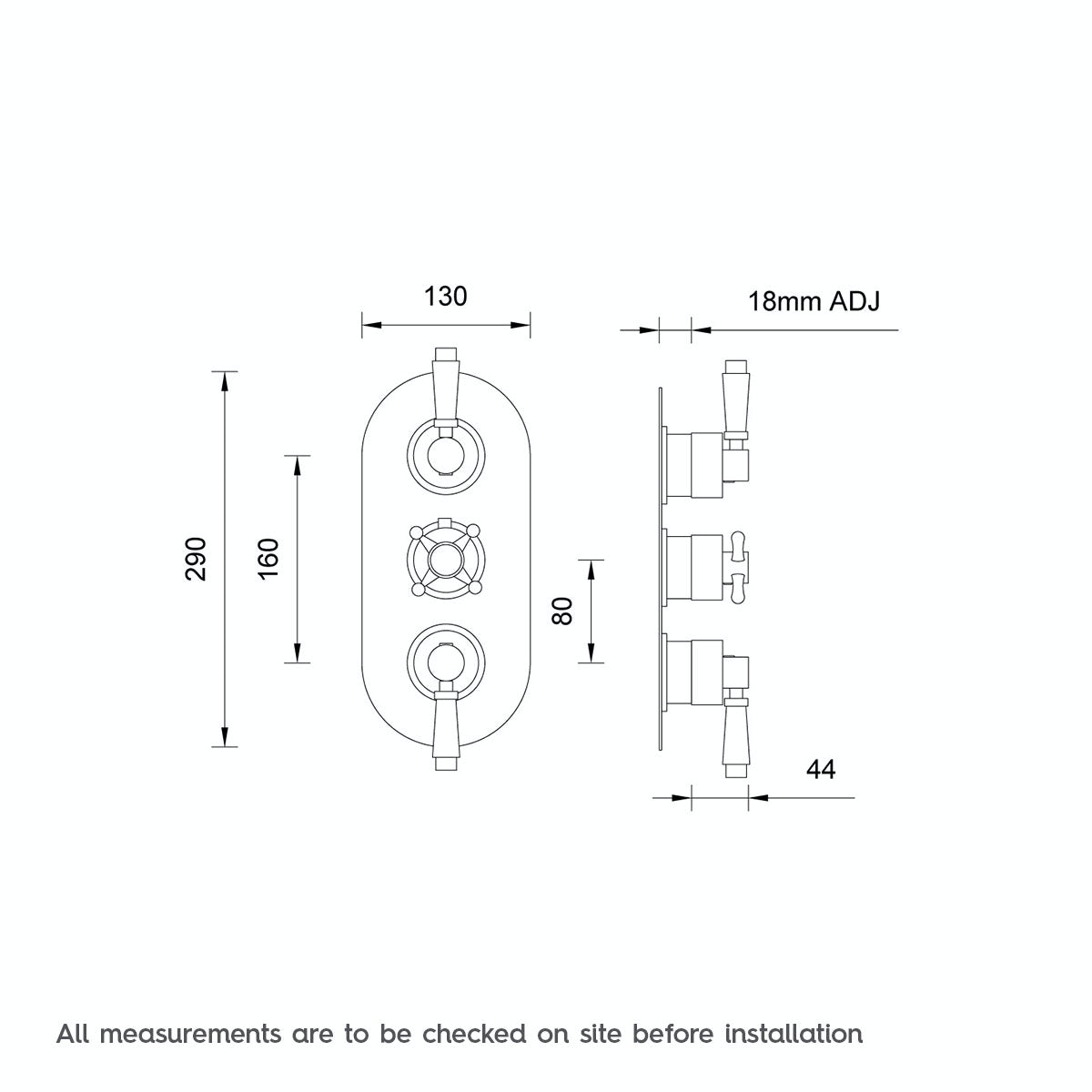 Dimensions for The Bath Co. Traditional oval triple thermostatic shower valve