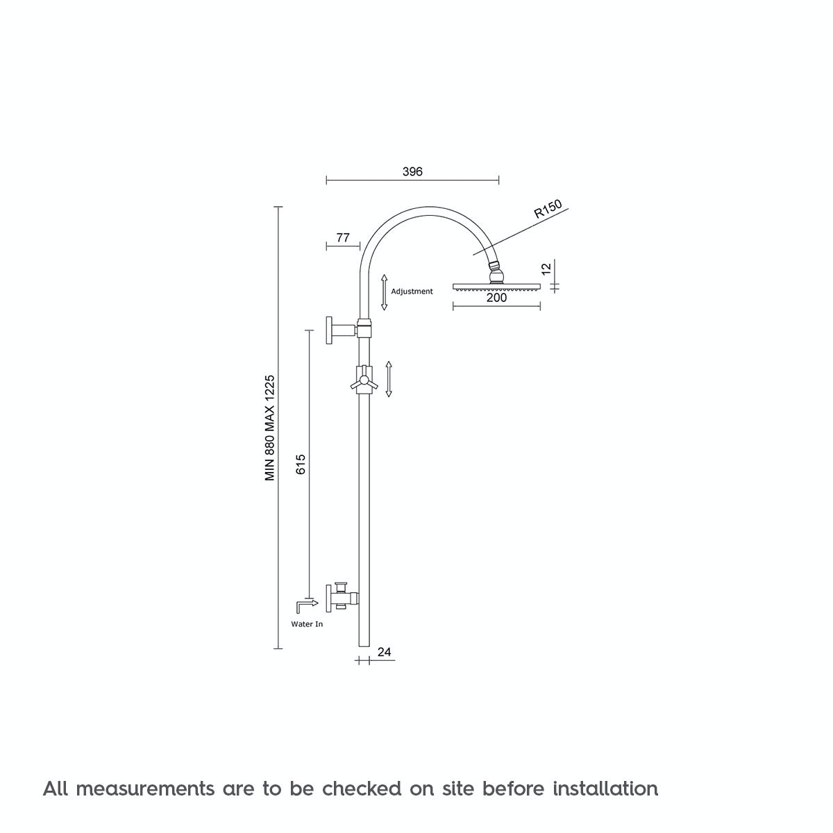 Dimensions for Mode Aria square shower riser kit