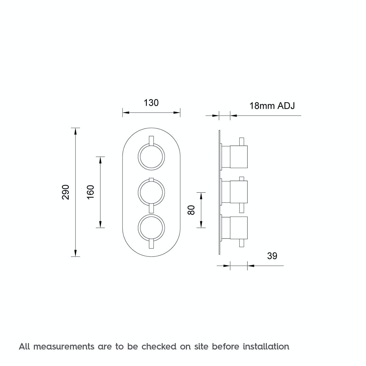Dimensions for Mode Matrix oval triple thermostatic shower valve with diverter