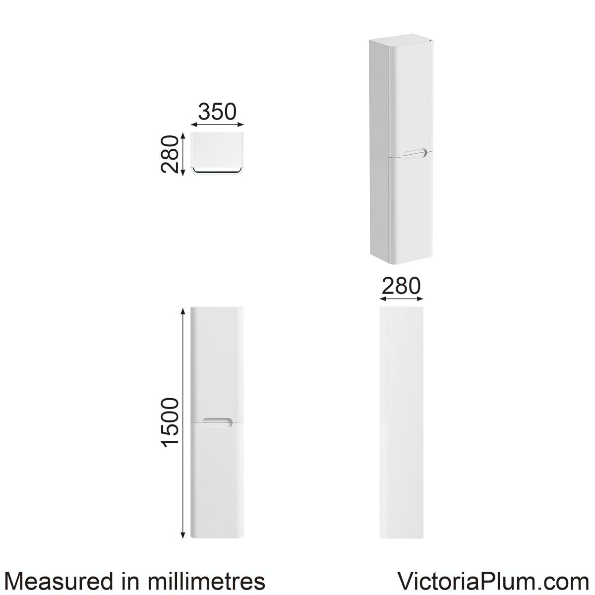 Dimensions for Mode Ellis white wall hung cabinet