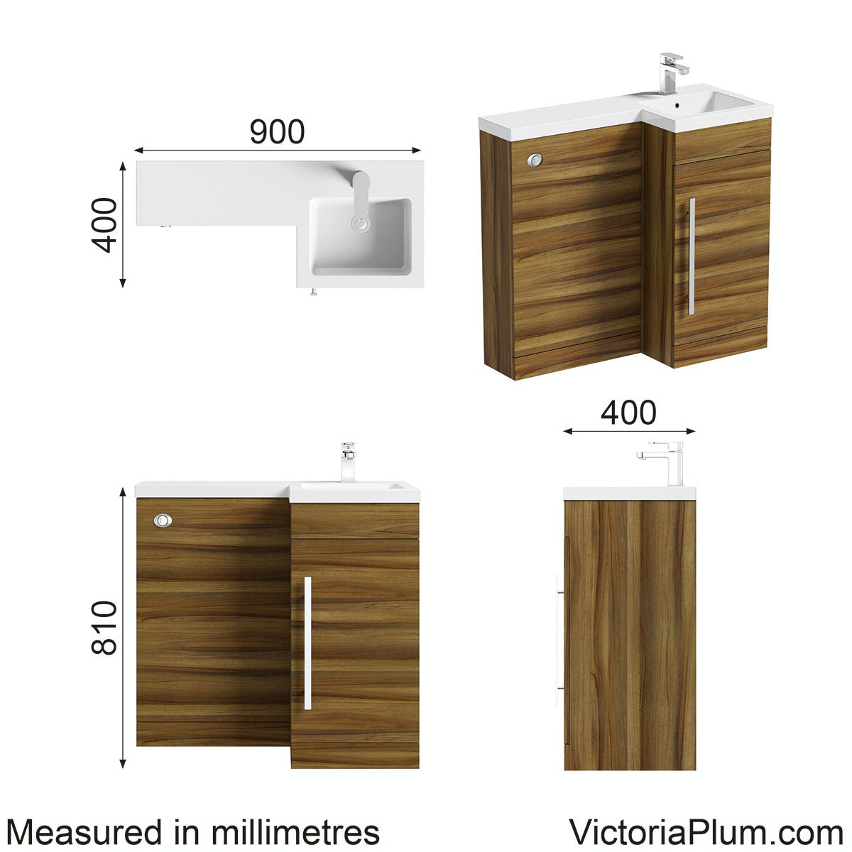 Dimensions for Orchard MySpace walnut right handed unit including concealed cistern