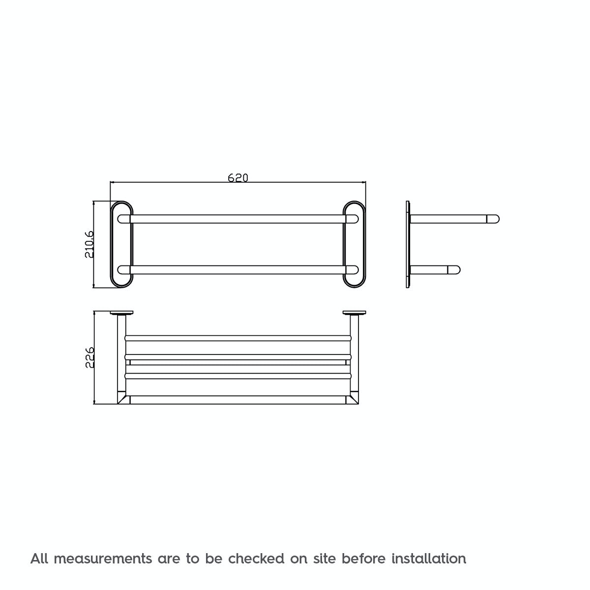 Dimensions for Orchard Options contemporary towel shelf