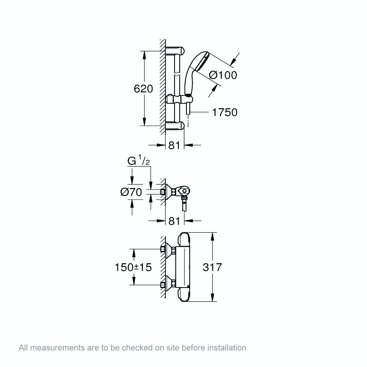 Dimensions for Grohe Grohtherm 1000 thermostatic shower set