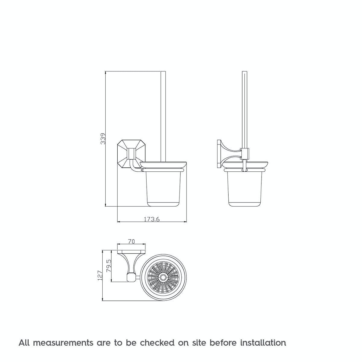 Dimensions for The Bath Co. Camberley toilet brush and ceramic holder