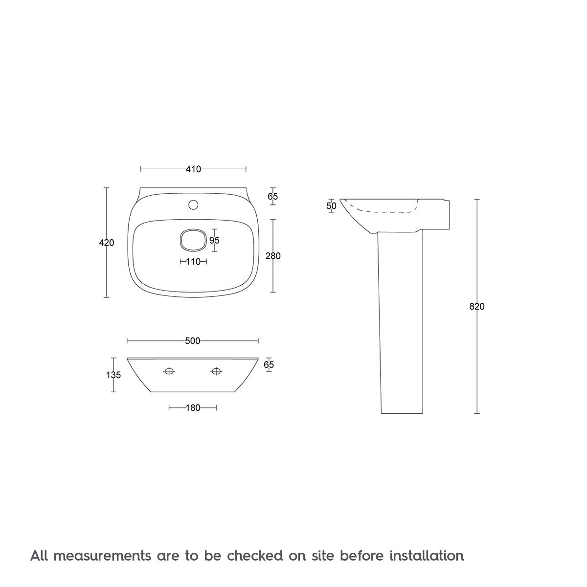 Dimensions for Mode Heath 1 tap hole full pedestal basin 500mm