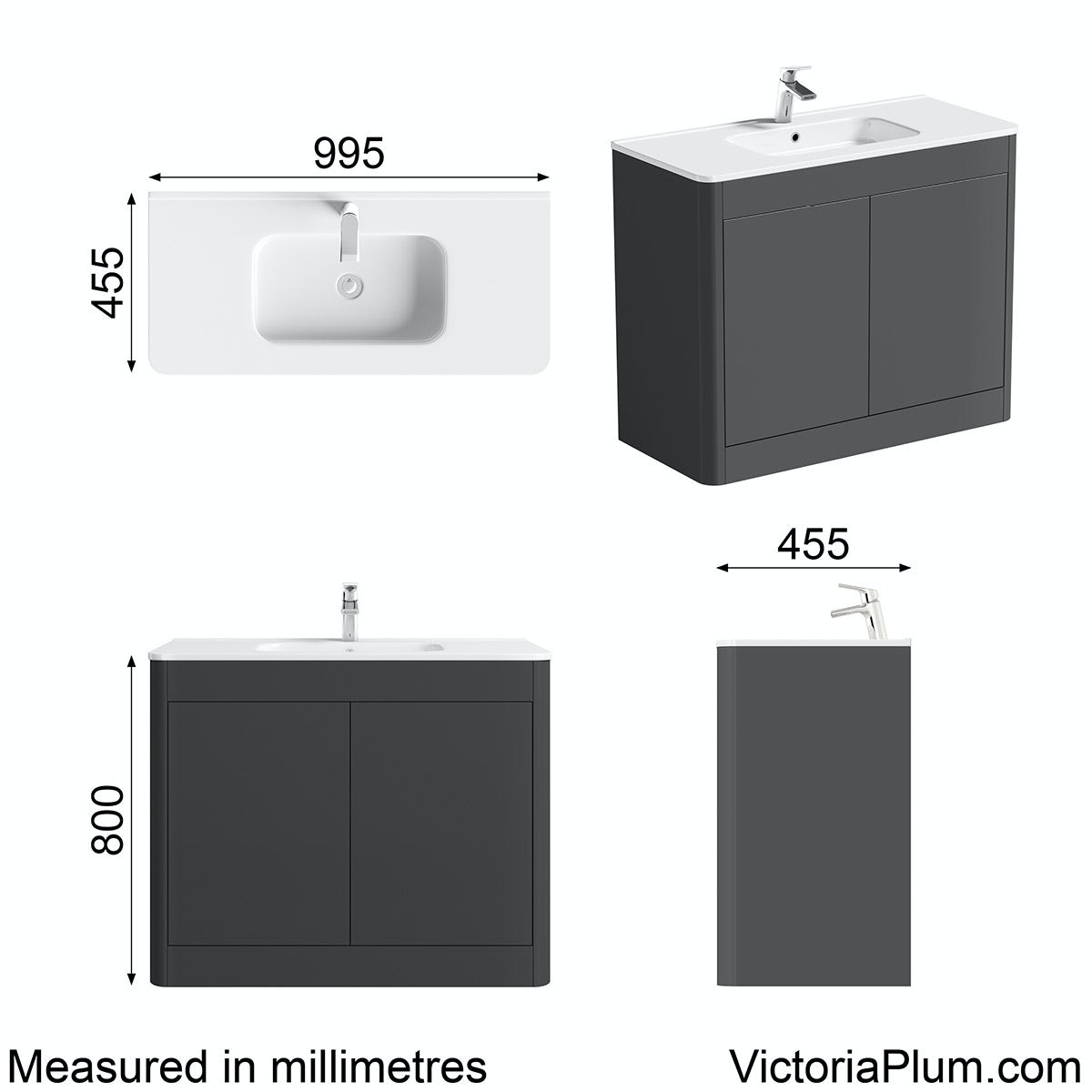 Dimensions for Mode Carter slate vanity unit and basin 1000mm