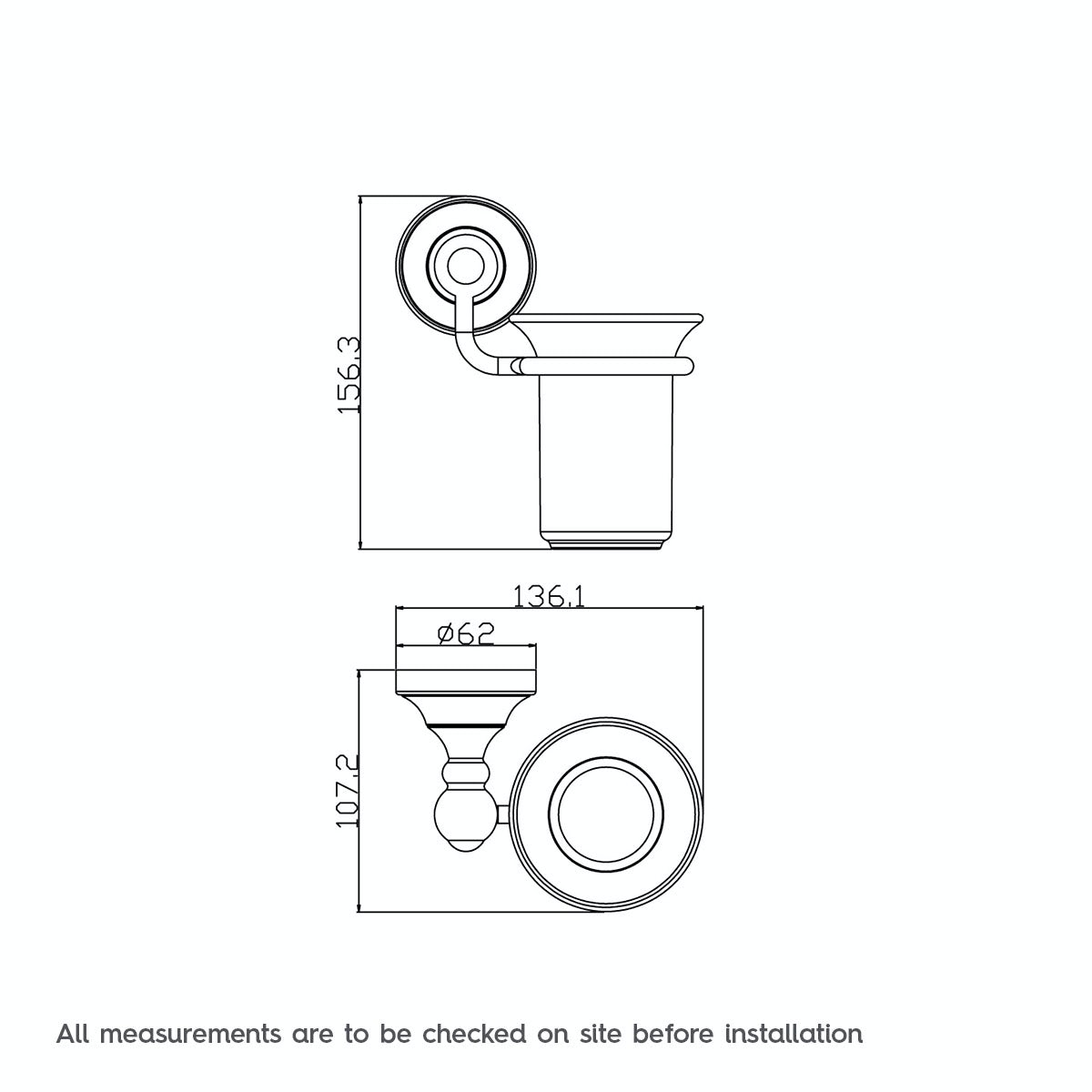 Dimensions for The Bath Co. Winchester ceramic tumbler and holder