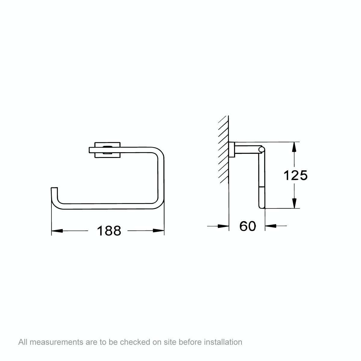 Dimensions for Grohe Essentials Cube towel ring