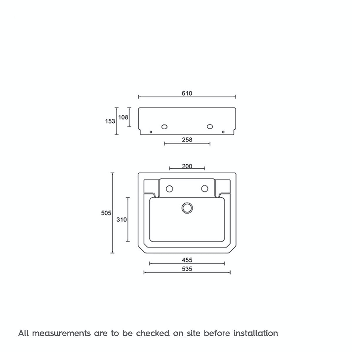 Dimensions for The Bath Co. Traditional washstand with Camberley basin