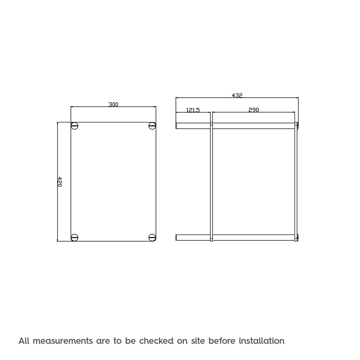 Dimensions for Options freestanding square 2 glass shelf unit