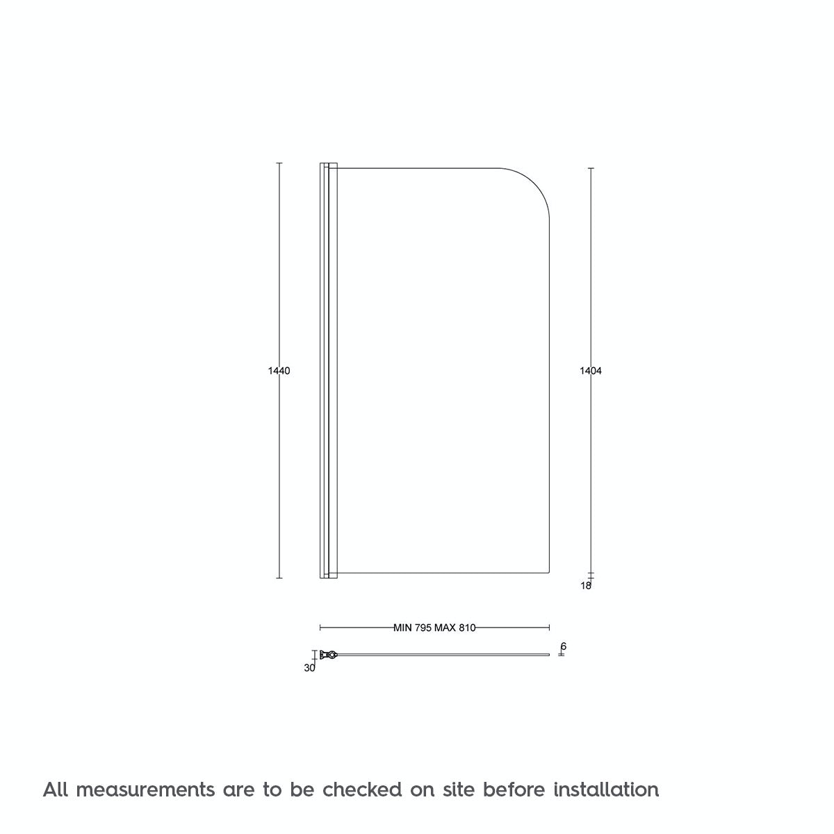 Dimensions for Orchard 6mm straight shower bath screen