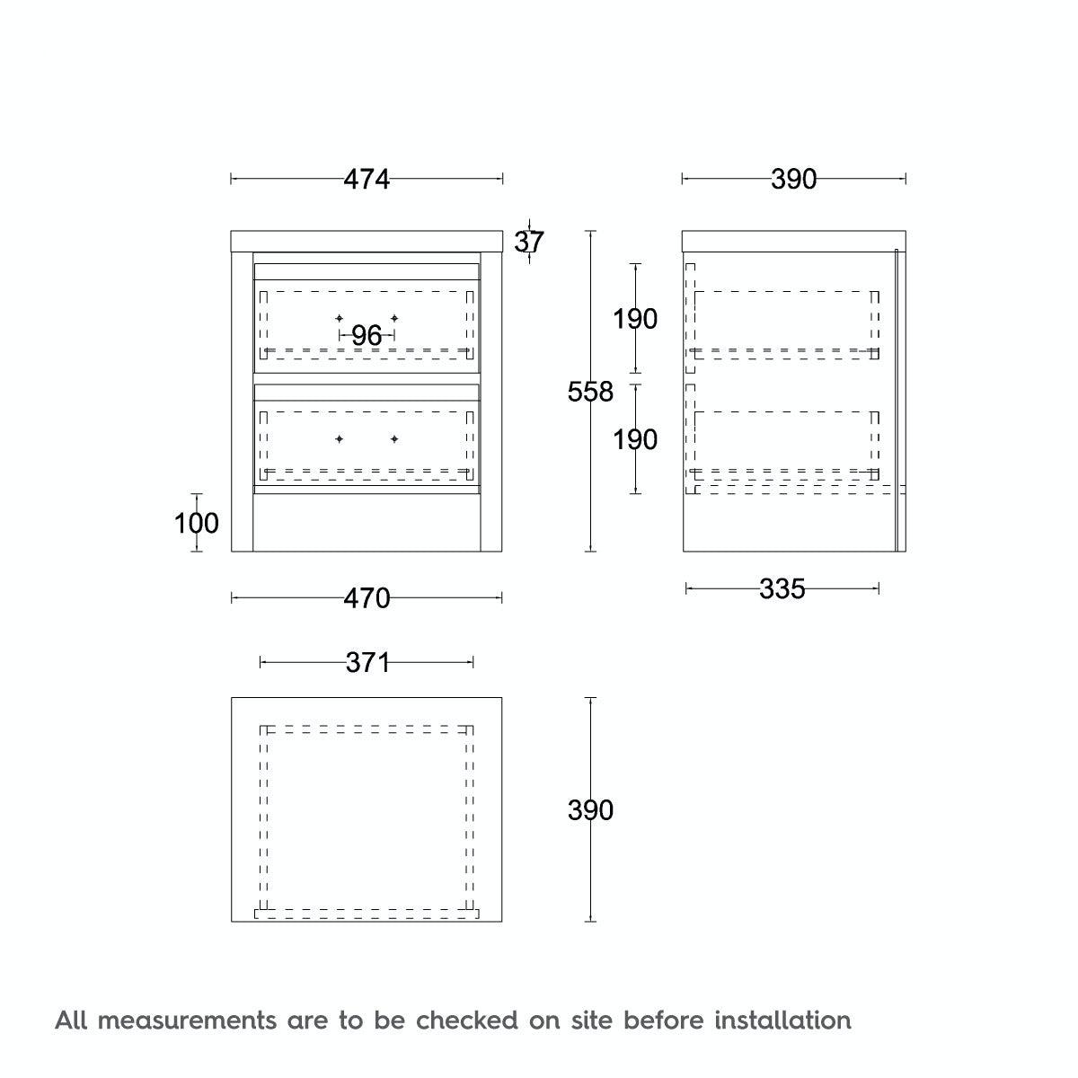 Dimensions for MFI London oak 2 drawer bedside