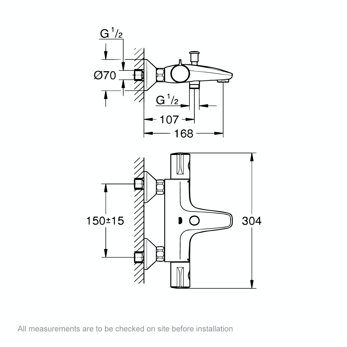 Dimensions for Grohe Grohtherm 800 thermostatic bath shower mixer tap